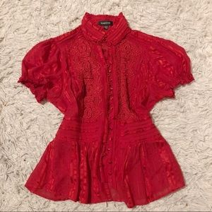 ◾️Bebe Red Button Up Blouse
